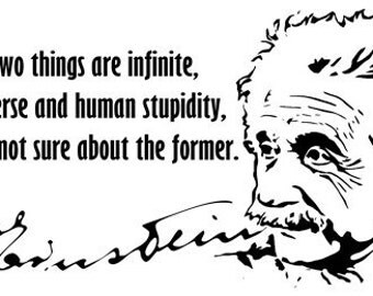 "Albert Einstein White or Natural Quote T Shirt ""Only two things are infinite, the universe and human stupidity"