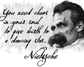 "Friedrich Nietzsche White or Natural Quote T Shirt ""You need chaos in your soul to give birth to a dancing star."" FREE US SHIPPING"