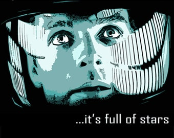 "Stanley Kubrick's 2001: A Space Odyssey T Shirt Screen Printed on black t shirt. ""My God..it's full of Stars"" FREE US SHIPPING"