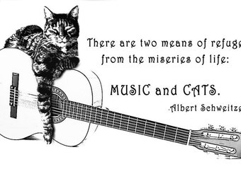 CAT and GUITAR T Shirt two means of refuge from Music and Cats Albert Schweitzer All on a Tee Free US Shipping