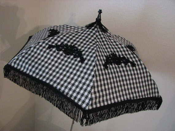 Victorian PARASOL in Black and White Gingham with Black Appliques and Fringe
