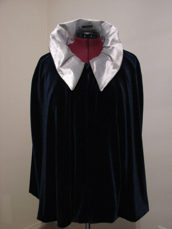 Victorian CAPE in Midnight Blue and Silver Reversible Stretch Velvet
