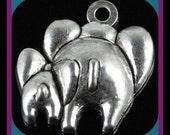 Two Elephants Charms Pendants - 6 pieces