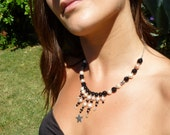 Freshwater Pearls and Black Oynx Necklace Sterling Silver with Spinel and Star Charm