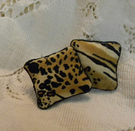 Animal print pillows for dollhouse miniatures