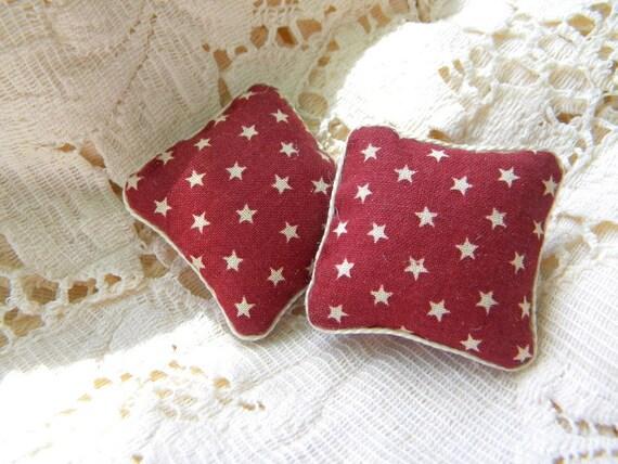 Red Star pillows dollhouse miniature