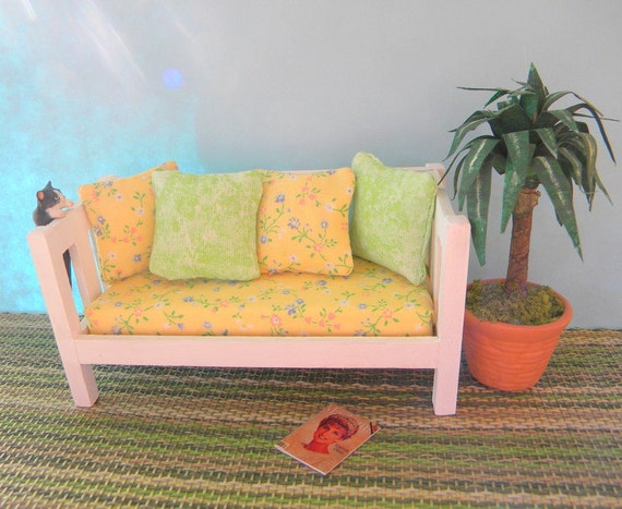 Sun Room sofa in yellow and white dollhouse miniature