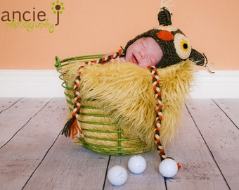 Baby Owl Earflap Hat in Fall Colors
