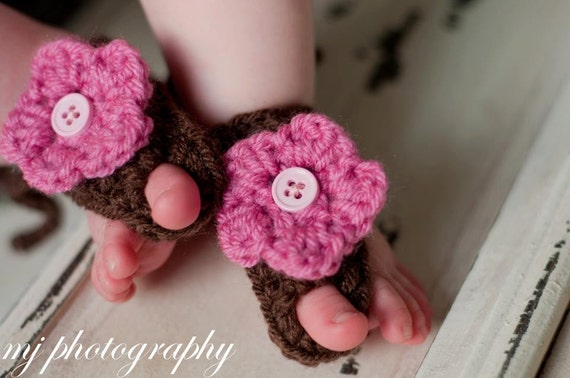 Baby Barefoot Sandals with Flower in Brown
