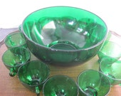 Vintage Emerald Green Punch Bowl and 12 Cups