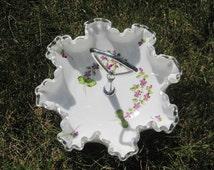 Fenton Silver Crest Bonbon with Decorated Violets 7498 DV