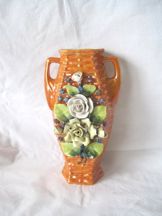 German Orange Irisdescent Porcelain Vase with Applied Flowers