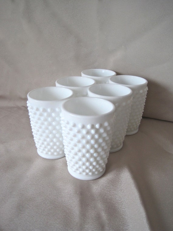 Fenton Hobnail Milk Glass 6 x  5 oz Juice Tumblers 3945 MI