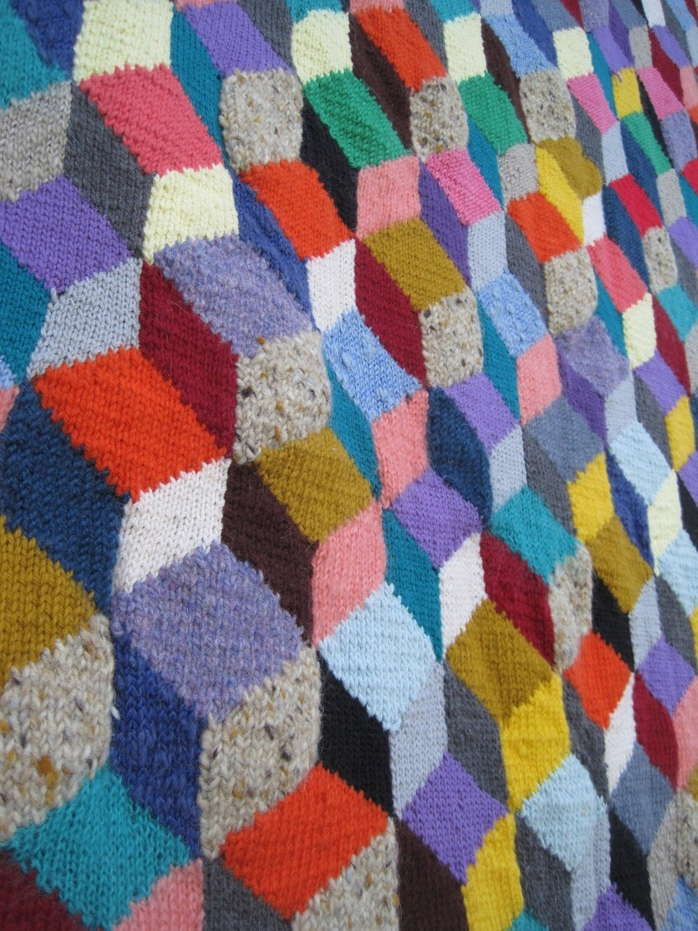 Knitted Quilt Block Patterns : Cube Block Knit Lined Afghan Quilt Blanket vintage