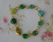 Green Button Bracelet, Vintage