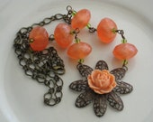 Flower Necklace, Luscious Tangerine And Lime Green