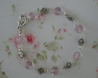 Crystal Bracelet, Silver Pink And Clear
