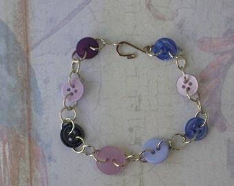 Lavender And Purple Bracelet, Vintage Button