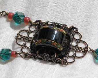 Inlay Button Necklace,  Antique Glass Button Multi-Color