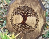 Tree of Life Wood-burned Wall Plaque