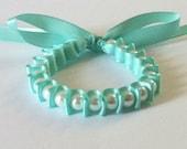 White Pearl & Turquoise Ribbon Bella Bracelet
