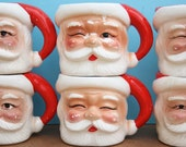 Vintage 50s Santa Mugs - Set of 6