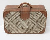 """REDUCED Vintage Brown Plaid 21"""" Suitcase"""