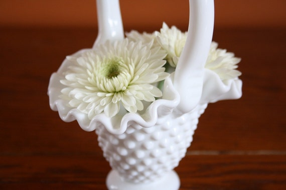 Vintage Fenton White Hobnail 6-in Basket no. 3336