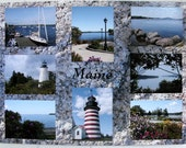 Maine Travel Postcard - West Quoddy lighthouse, Lubec, Rangeley, Lincoln, Greenville, Castine, sailboat, granite, summer flowers postcard - DabHands