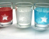 4th of July Glass Candle Holders - Patriotic stars red, white & blue votive or tealight candle holder - set of 3