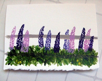 Lupine Handpainted Card - Maine lupine miniature art card, purple flower card, birthday card, thank you card, beach wedding card