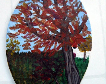 Miniature Original Painting - Autumn trees, autumn decor, miniature art, OOAK art, miniature decor, miniature collectible, ACEO