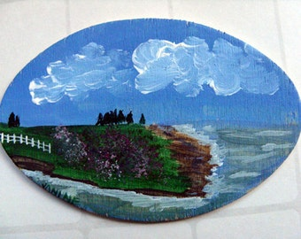 Miniature Original Painting - Coastal art, beach art, nautical art, Maine coast, miniature art, affordable collectible art, OOAK painting