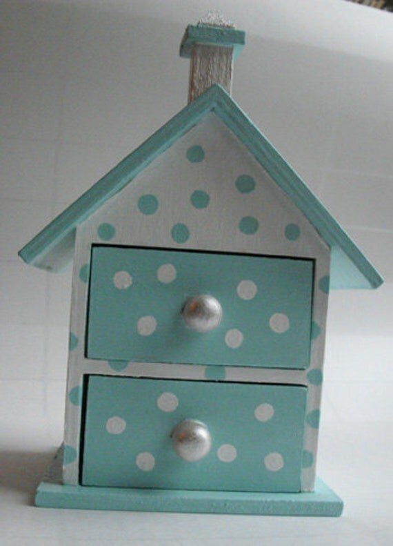 Box - Robin egg blue and white polka dot trinket box with pearl drawer pulls