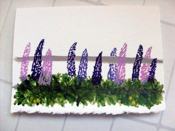 Lupine Handpainted Card - Maine lupine miniature art card, purple flower card, birthday card, thank you card, beach wedding card