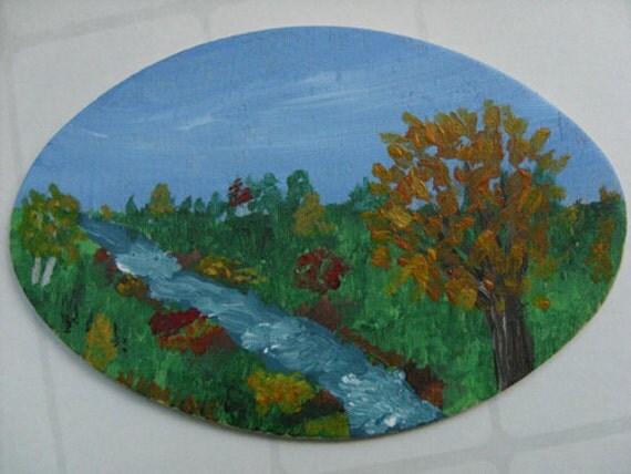 Miniature Original Painting - Autumn painting, river painting, miniature art painting, affordable art, collectible art, OOAK art