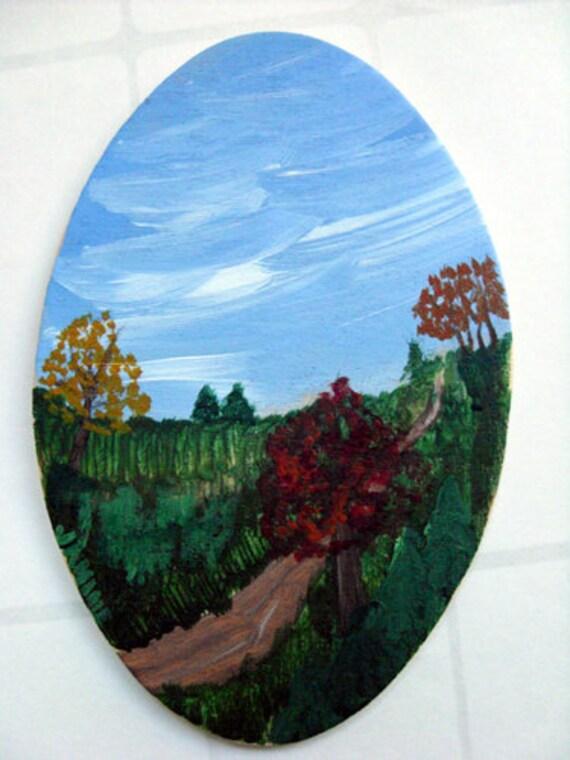 Miniature Original Art - Autumn painting, miniature painting, collectible art, autumn decor, OOAK art, OOAK painting, affordable art
