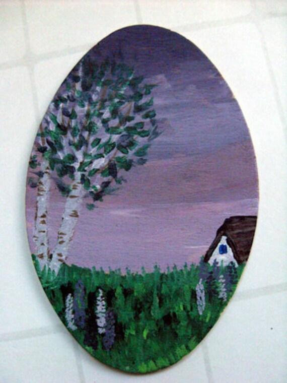 Miniature original painting - Purple summer sky with lupine field, birch trees & house