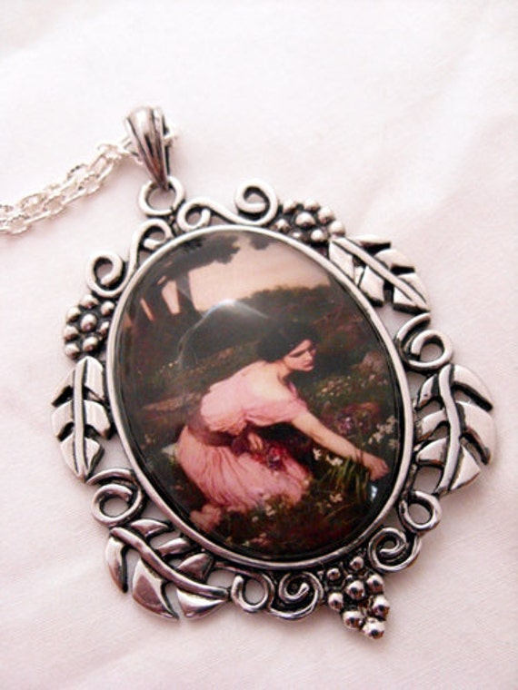 Pendant necklace - John Waterhouse spring flowers cabochon, girl in pink dress, antique silver leaves setting