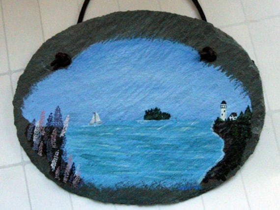 Handpainted slate - Lighthouse, sailboat, lupine, island, Maine summer day, OOAK art, garden decor