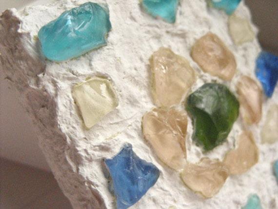 Trinket Box - Sea glass flower mosaic wooden box
