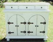 The Holland Hutch - Handmade Classic White Cabinet with Old World Charm by Arcadian Cottage
