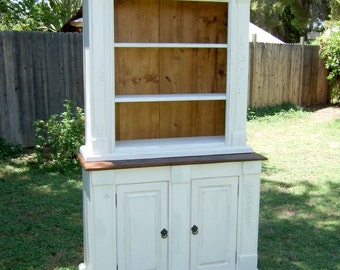 Blanche du Cabinet - White Cottage Style Cabinet Handmade by Arcadian Cottage