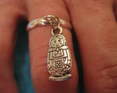 Silver Matryoshka Doll Charm - Adjustable Ring