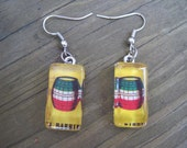 La Loteria Dangle Earrings - El Barrell - Barril - Day of the Dead - Cinco de Mayo - Glass - red green white