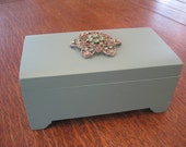 Upcycled Jewelry Box - FREE SHIPPING - Jade Green, Vintage pendant, black vintage fabric