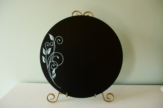 Black & Green Round Hand Painted Decorative Chalkboard