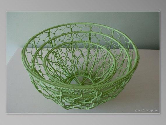 Apple Green Chicken Wire Baskets- Set of 3