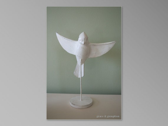 Beautiful White Shabby Chic  Bird for Wedding or Home Decor