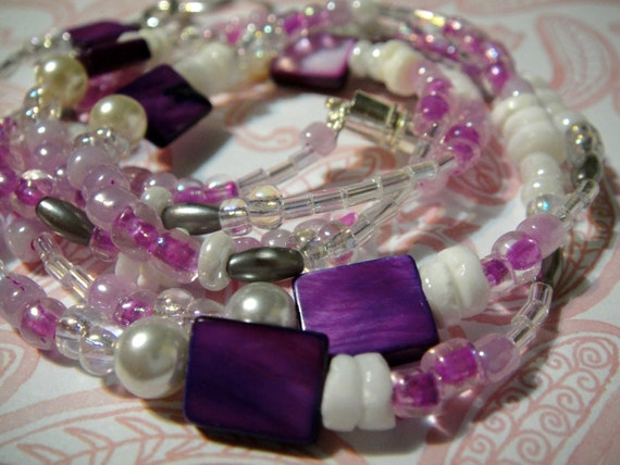 Girl's Day at the Beach: White and Purple Shell and Glass Beaded Lanyard - ID Badge Holder / Glasses Holder